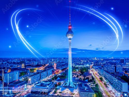 Foto op Canvas Berlijn panoramic view at berlin city center tonight