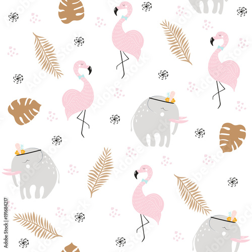 Cute pastel seamless pattern with African animals and gold tropical leaves. Vector hand drawn illustration. - 191684217