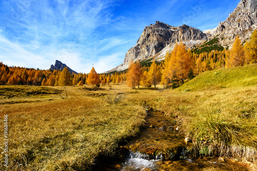 Fotobehang Landschappen meadow, brook, autumn trees, Monte Lagazuoi