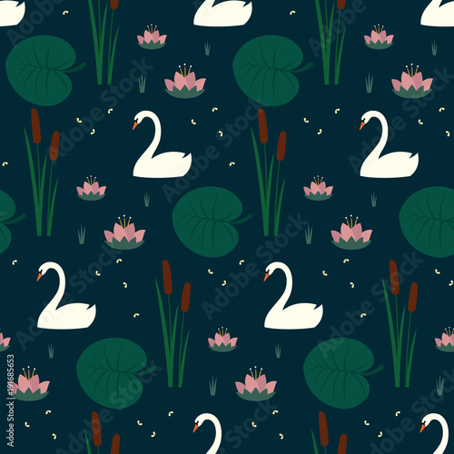 Trendy seamless pattern with white swans, water lily, bulrush and leaves on dark blue background. Night lake art background. Fashion design for fabric, wallpaper, textile and decor.