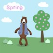 Cartoon bear on spring background. - 191693034