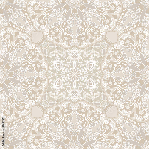 Vector seamless pattern silver mandalas. Traditional Eastern pattern of circular graphic elements. - 191694221