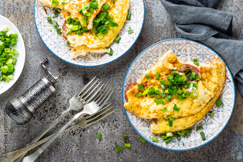 Omelet or omelette with fresh green onion, scrambled eggs - 191695449