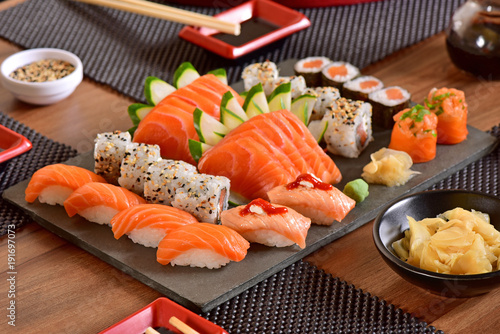 Tuinposter Sushi bar Japanese food table