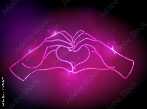 neon pink glow effect of love hand sign vector illustration