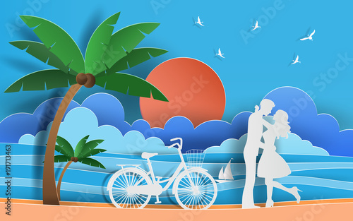 Cute couple in love hugging at the beach, staring at each other's eyes with beautiful sea background, flat-style vector illustration.