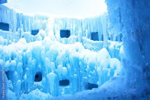 Tuinposter Blauw 厳冬の支笏湖