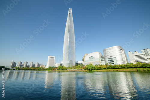 Keuken foto achterwand Seoel Scenic modern Seoul skyline. Wonderful tower at downtown