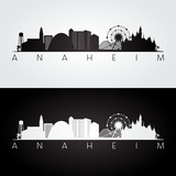 Anaheim usa skyline and landmarks silhouette, black and white design, vector illustration. - 191716676