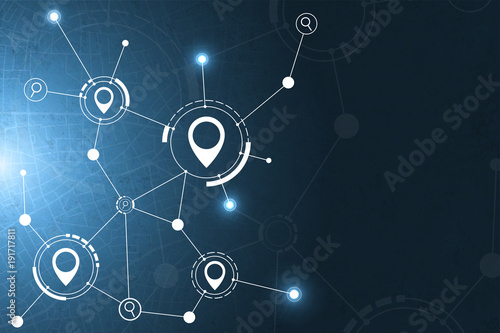 Gps and search icon technology abstract background.vector illustration - 191717811