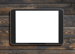 tablet pc with blank screen top view on old wood table - 191718865