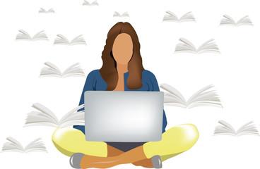 ragazza con gambe incrociate e computer  ricerca