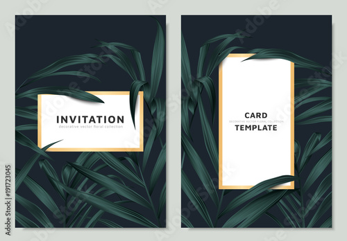 Green palm leaves with white golden border frame on dark background, invitation card template design