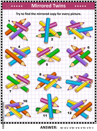 IQ training visual puzzle with colored pencils: Try to find mirrored copy for every picture. Answer included.