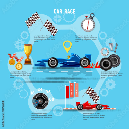 Fotobehang F1 Car racing sport concept. Tyre drift on race circuit finish line. Motor racing cars on a start line, formula car speeding