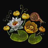 Water lily embroidery. Classical embroidery white lotus and water lilies, template fashionable clothes, t-shirt design, print - 191727013