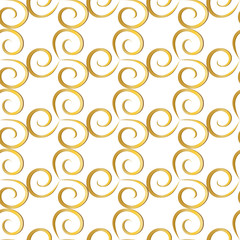 Spiral gold on a white background. Seamless pattern. Abstract texture. For background, fabric, wallpaper.