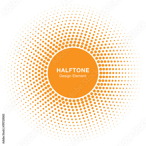 Sunny Circle Halftone Logo Design Element. Sun vector icon. Sun halftone emblem for health, treatment, medical, cosmetic, pharm. Honey sun logo vector illustration - 191728065