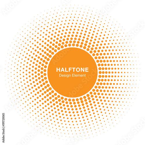 Sunny Circle Halftone Logo Design Element. Sun vector icon. Sun halftone emblem for health, treatment, medical, cosmetic, pharm. Honey sun logo vector illustration - 191728065