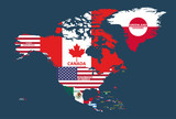 vector illustration of North America map (include Northern America, Central America and Caribbean regions) with country names and flags of countries.