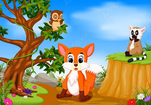 Fotobehang Zoo fox, owl and lemur with mountain cliff scene