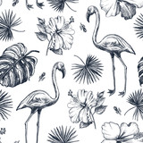 Decorative seamless pattern with ink hand-drawn Tropical hibiscus flowers, leaves and flamingo bird. Vector illustration. - 191732651