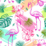 Decorative seamless pattern with ink hand-drawn Tropical hibiscus flowers, leaves and flamingo bird. Vector illustration. - 191732692