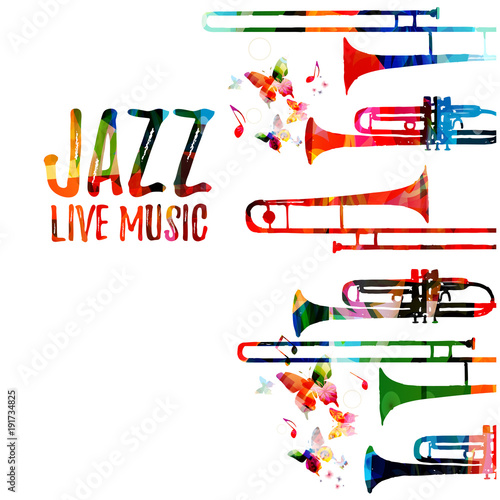 Jazz music colorful background. Jazz music festival poster. Word jazz with saxophone isolated vector illustration. Music instrument vector © abstract