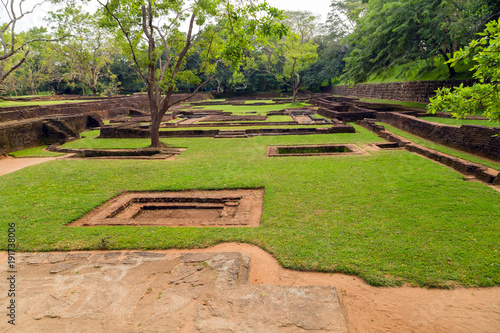 Fotobehang Diepbruine Landscape of ruin Royal Gardens and Pools, Lion Rock Sigiriya, Attractions Sri Lanka