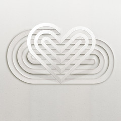 Heart cut out, white. Paper cut style illustration of a white heart cut out on a paper.