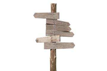 indicatori di direzione di legno su fondo bianco
