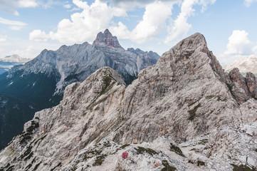 Mountain ridge of the Vecio del Forame, with the beautiful Croda Rossa Peak in the background, Cortina d'Ampezzo, Dolomites, Italy