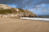 UK, Wales, Pembrokeshire, Barafundle Bay in autumn sun - 191741068