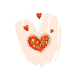 Hand drawn vector abstract modern cartoon Happy Valentines day concept illustrations card with heart pizza shape isolated on white background.Romantic dinner concept - 191741681