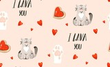 Hand drawn vector abstract modern cartoon Happy Valentines day concept illustrations seamless pattern with cute cats,paws,handwritten calligraphy and many hearts isolated on pink pastel background - 191741892
