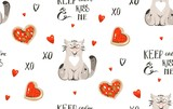 Hand drawn vector abstract modern cartoon Happy Valentines day concept illustrations seamless pattern with cute cats,pizza,handwritten calligraphy and many hearts isolated on white background - 191742011