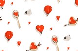 Hand drawn vector abstract modern cartoon Happy Valentines day concept illustrations seamless pattern with badminton racket,cookies,hot air balloons and many hearts isolated on white background - 191742030