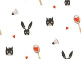 Hand drawn vector abstract modern cartoon Happy Valentines day concept illustrations seamless pattern with sex toys mask,badminton racket and many hearts isolated on white background - 191742041