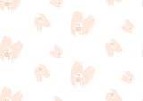 Hand drawn vector abstract modern cartoon Happy Valentines day concept illustrations seamless pattern with cute cats paws in pink pastel colors isolated on white background - 191742054