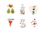 Hand drawn vector abstract modern cartoon Happy Valentines day concept illustrations signs or logotypes with cute cats,pizza,hearts,avocado and handwritten calligraphy isolated on white background - 191742099