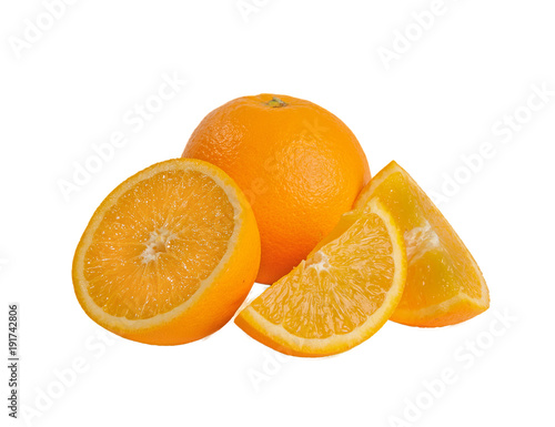 Orange cut into slices on a white background.
