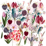 Beautiful floral pattern with spring flowers