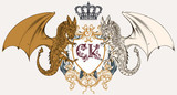 Illustration with heraldic coat of arms, crest and dragons ideal for logotype design - 191748212