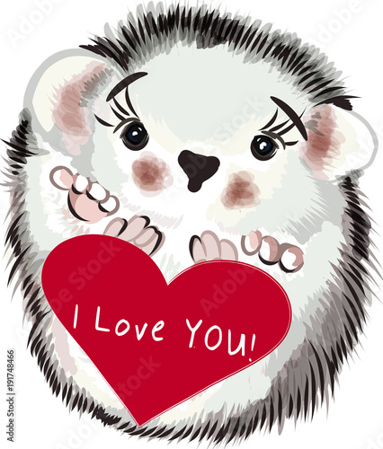 Vector Valentine's Day card with hedgehog and heart. I love you