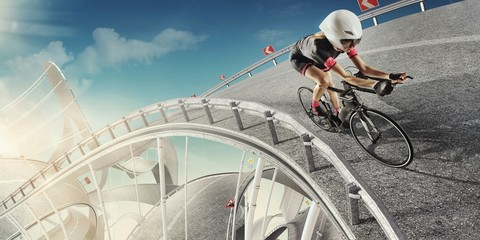 Sport. Cycling. Design concept for a sport background. Road like the roller coaster.