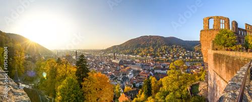 Keuken foto achterwand Panoramafoto s Heidelberg Panorama, Altstadt mit Schloss