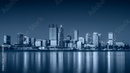 Perth. Panoramic cityscape image of Perth skyline, Australia during sunset.