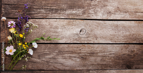 Wild flowers on old grunge wooden background (chamomile lupine dandelions thyme mint bells rape) - 191769490