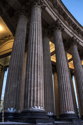 Evening colonnades illumination of Kazan Cathedral, St. Petersburg, Russia