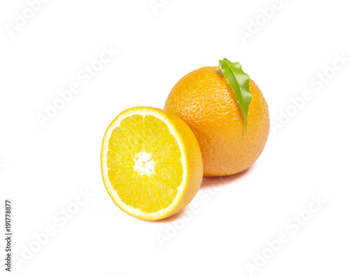 On a white background there is a whole orange and half an orange